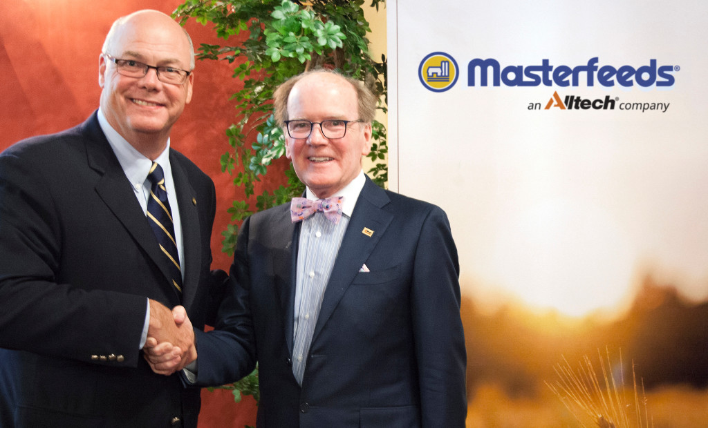 Rob Flack, chief executive of Masterfeeds, and Dr. Pearse Lyons, president and founder of Alltech.